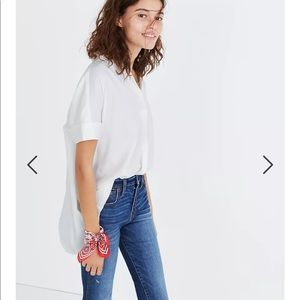 Madewell Courier Button Back Shirt white